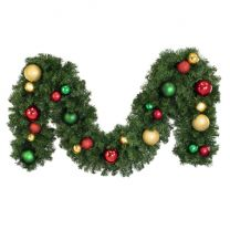 """Decorated 9' x 14"""" Garland Unlit, Colors of the Holiday"""