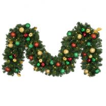 """Decorated 9' x 14"""" Garland Lit, Traditional"""
