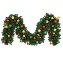 """Decorated 9' x 14"""" Garland Unlit, Traditional"""