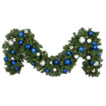 """Decorated 9' x 18"""" Garland Lit, Blue and Silver"""