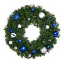 """24"""" Lit LED Warm White Decorated Wreath - Blue and Silver Décor - Bow Option Available"""