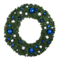"""60"""" Lit LED Warm White Decorated Wreath - Blue and Silver Décor - Bow Option Available"""