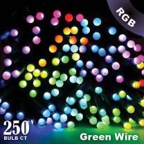 """Twinkly Pro - RGB Capsule - 250 Lights - 4"""" Spacing - Green Wire - Single Line"""