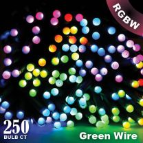 """Twinkly Pro - RGBW Capsule - 250 Lights - 4"""" Spacing - Green Wire - Single Line"""