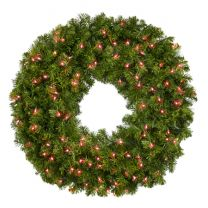 """36"""" Lit Red Deluxe Oregon Fir Wreath - Bow Option Available"""