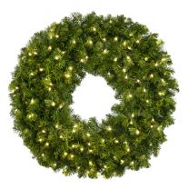 """36"""" Lit Warm White Deluxe Oregon Fir Wreath - Bow Option Available"""