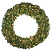 """72"""" Lit Red Deluxe Oregon Fir Wreath - Bow Option Available"""