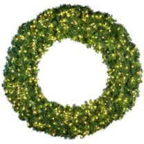 """96"""" Lit Warm White Deluxe Oregon Fir Wreath - Bow Option Available"""