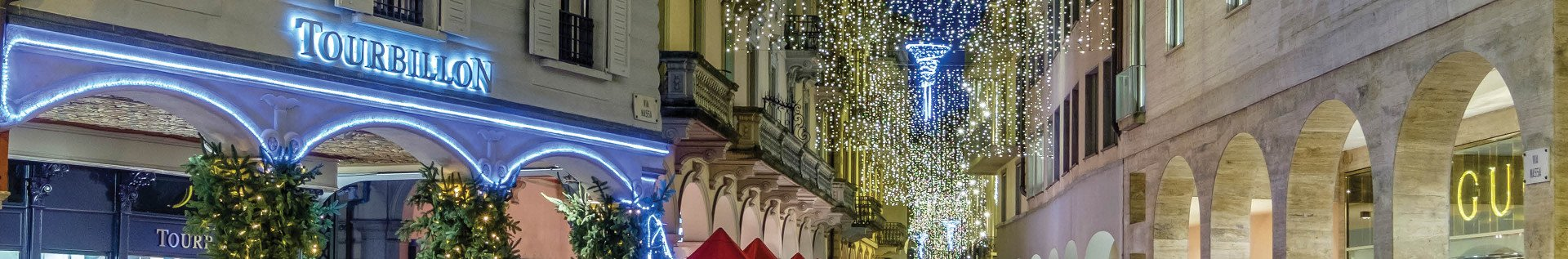 Luxury Shops with Cross-Street Decorations